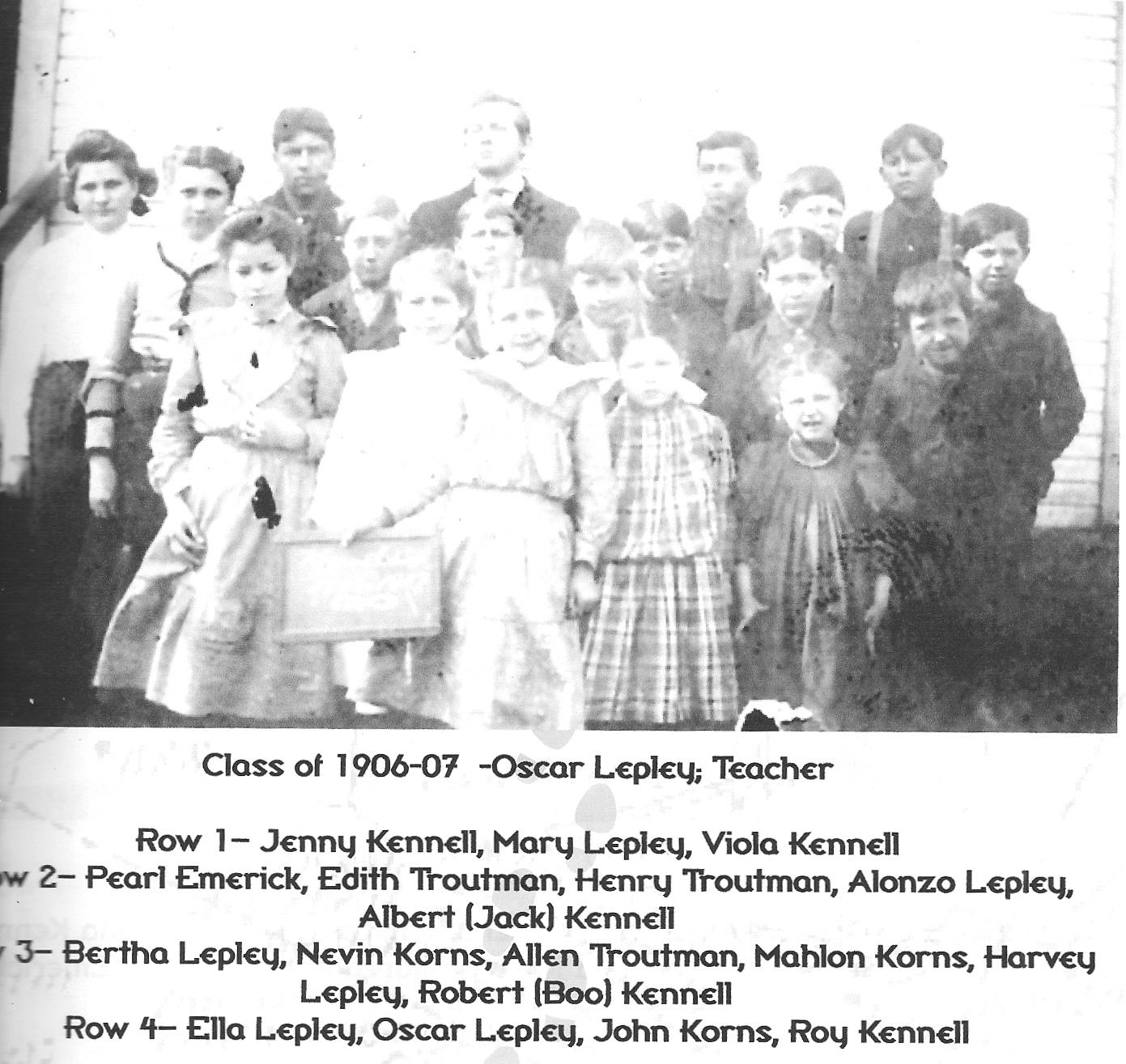 Korns School, Class of 1906-07