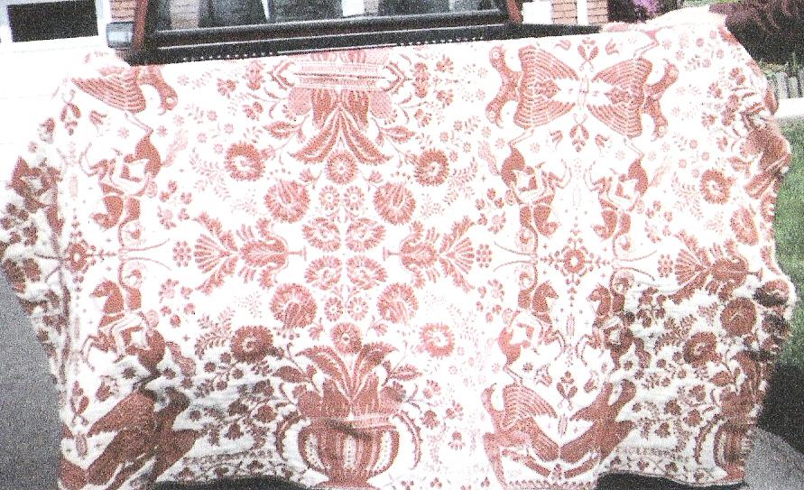 Lester Korns' antique woolen coverlet