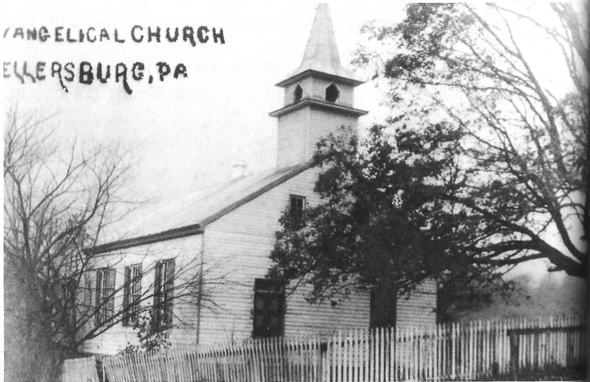 Early photo of the Wellersburg E.U.B. church.