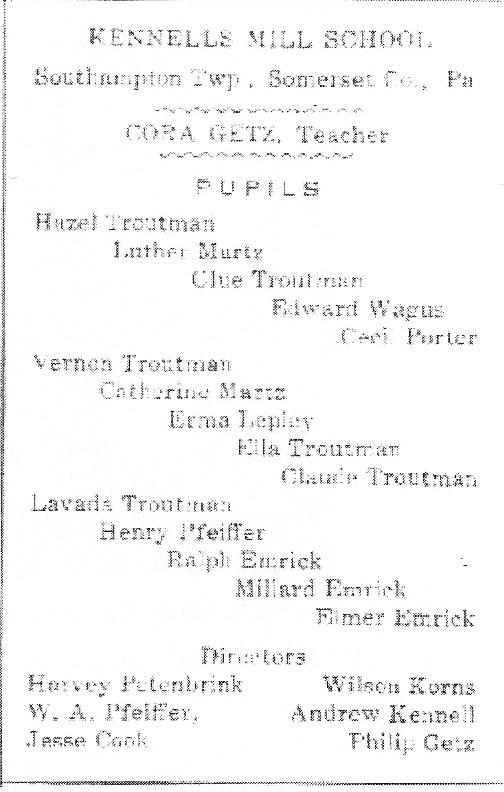 Kennell's Mill School Souvenir, 1911