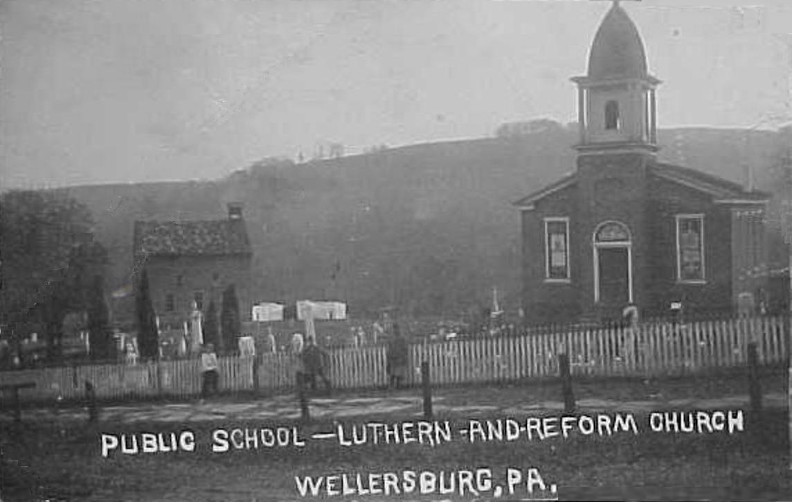 Wellersburg School House and church, Southampton Township, Someset County, PA