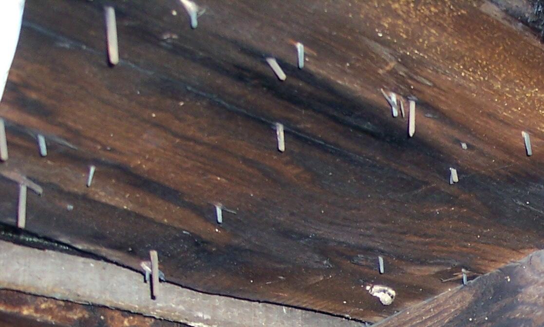 Attic nail detail, Korns farmhouse, Southampton Township, Somerset County.