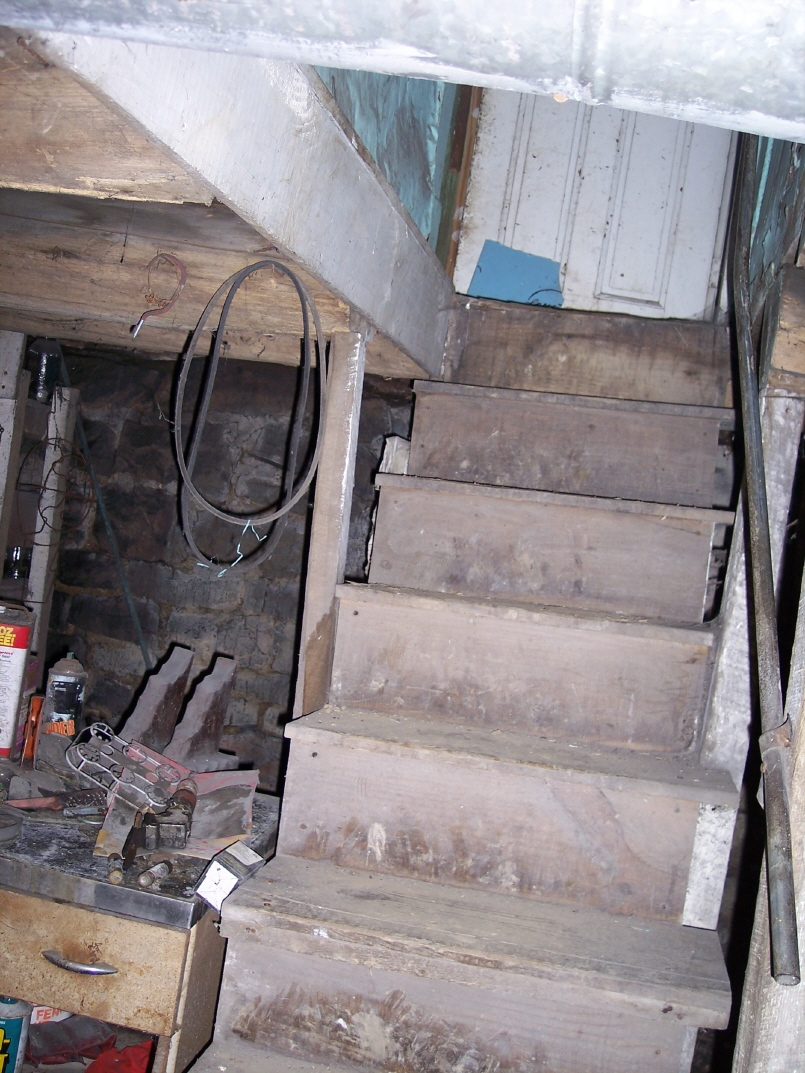 Basement stairs in the Korns farmhouse, Southampton Township, Somerset County.