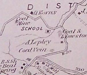 Korns School, and Daniel Korns' coal mine on map from 1876 Beers atlas.