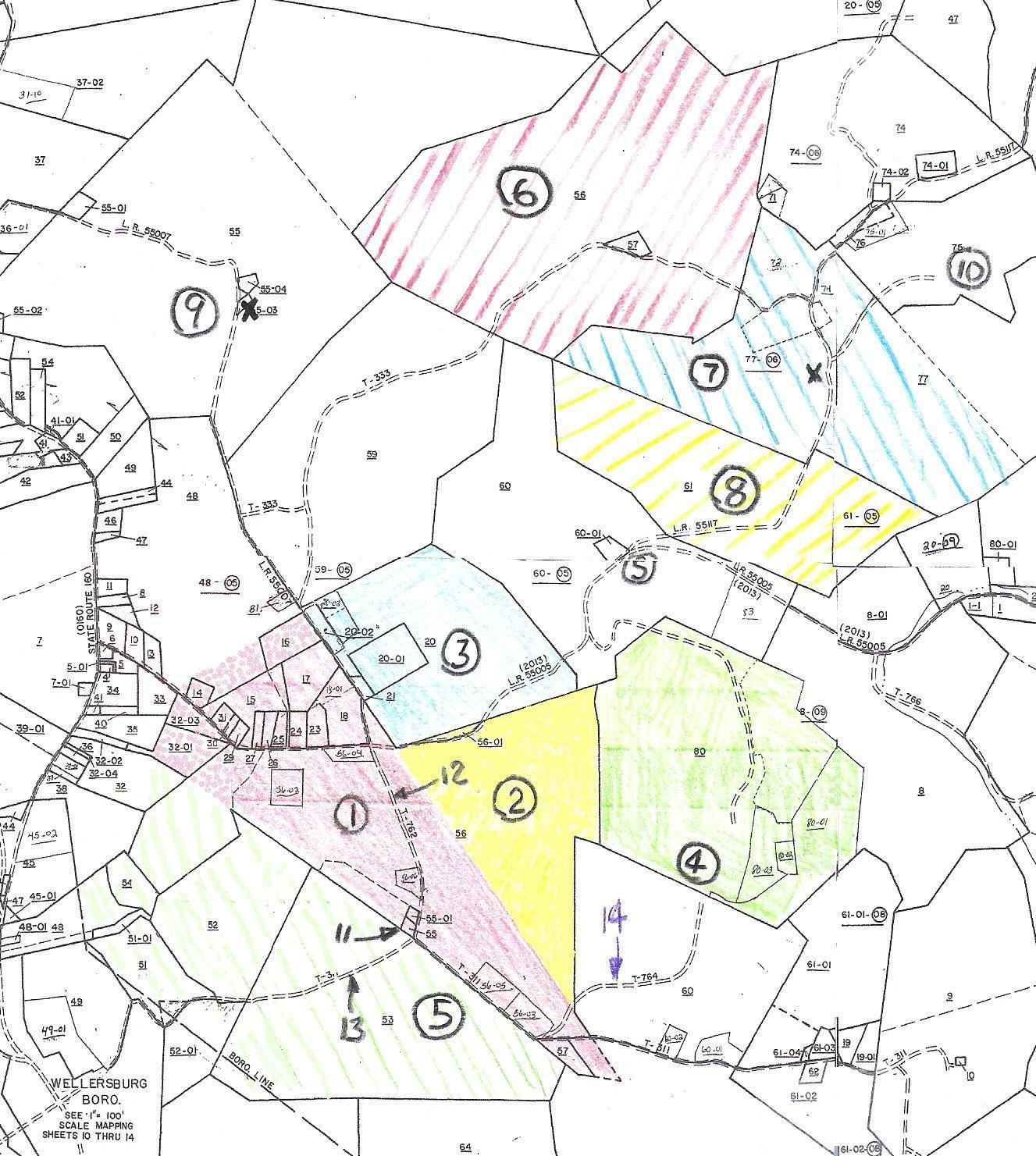 Michael Korns, Sr. tracts 1 & 2, shown on 2008 plat map.