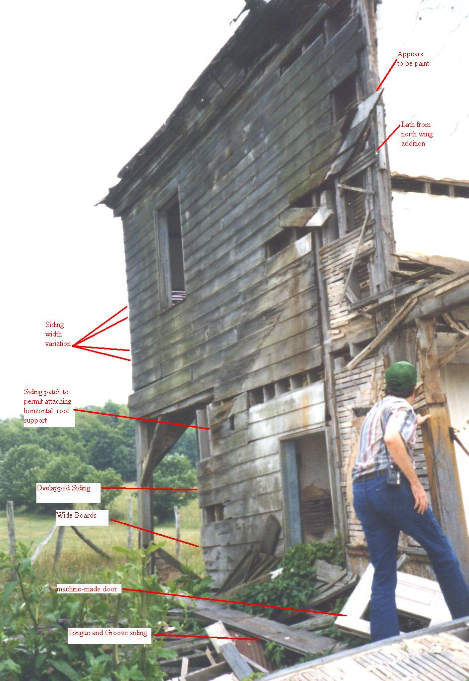 Rear of house on Michael Korns, Sr. farm, Somerset County, PA, showing presence of an addition, and showing several different widths of siding