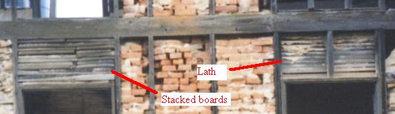 Stacked board insulation on house on Michael Korns, Sr. farm, Somerset County, PA.
