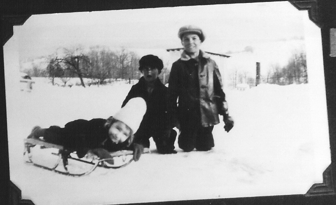 Allen Korns' children sled riding, Somerset County PA.