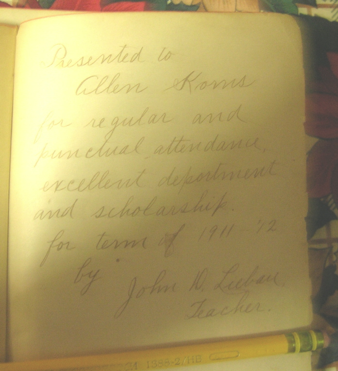 Inscription in Allen Korns' childhood book.