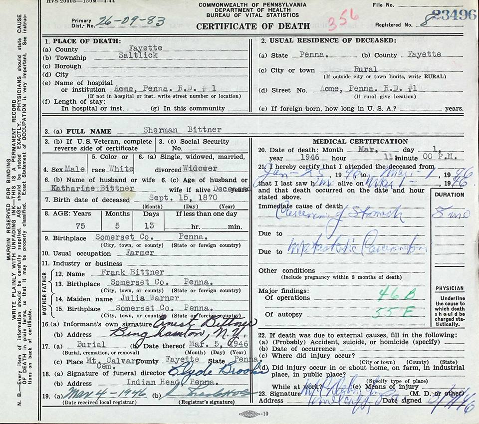 Death Certificate of Sherman Bittner.