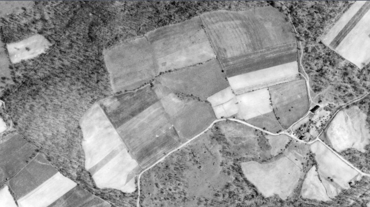 1939 aerial photo of a Somerset County PA family Korns farm.