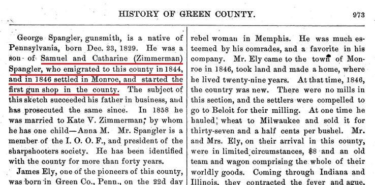 Samuel Spangler moved west in 1844