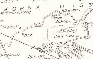 Map to Korns School, Southampton Township, Somerset County, PA