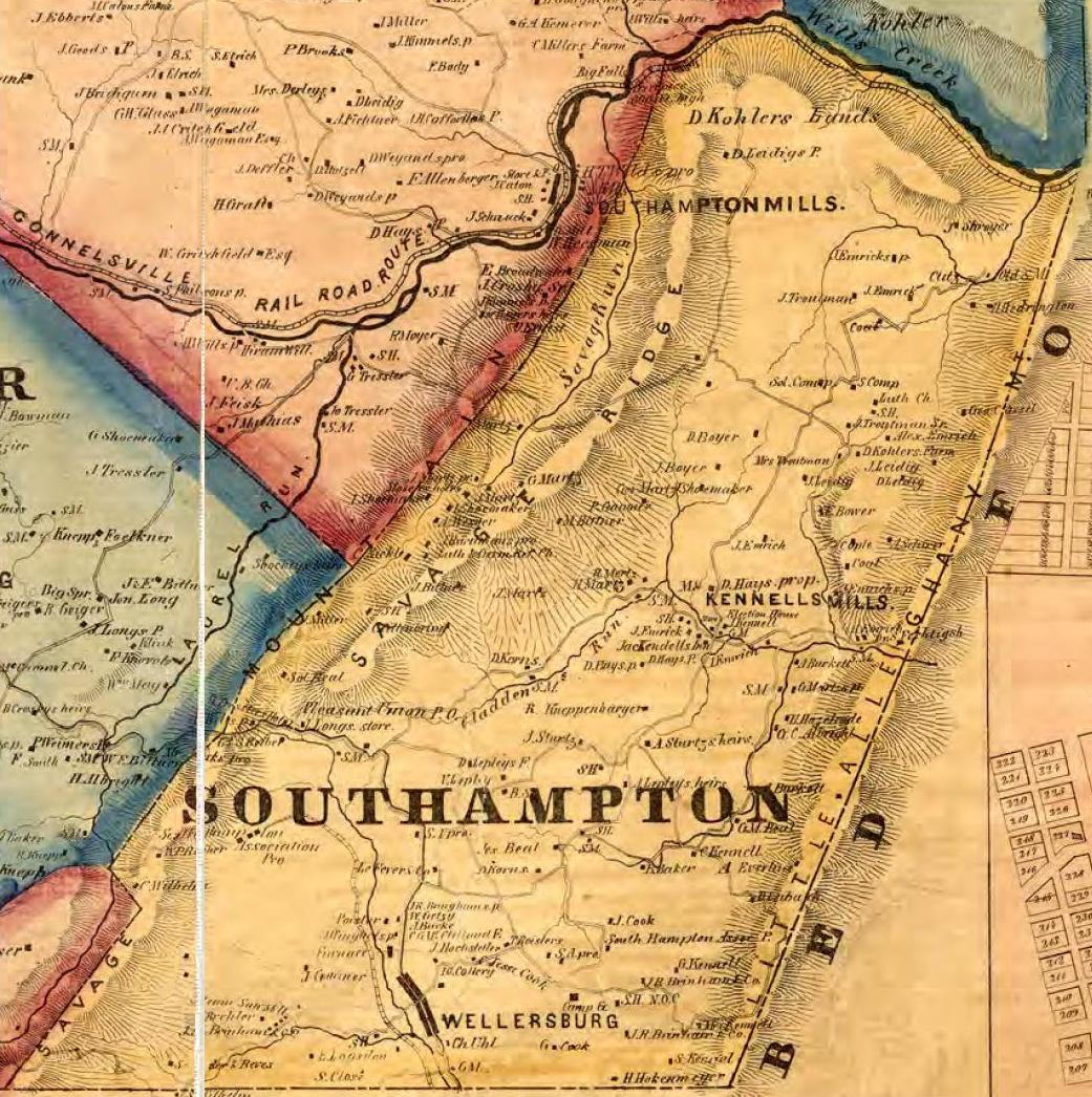 1860 map shows Southampton Township, PA.