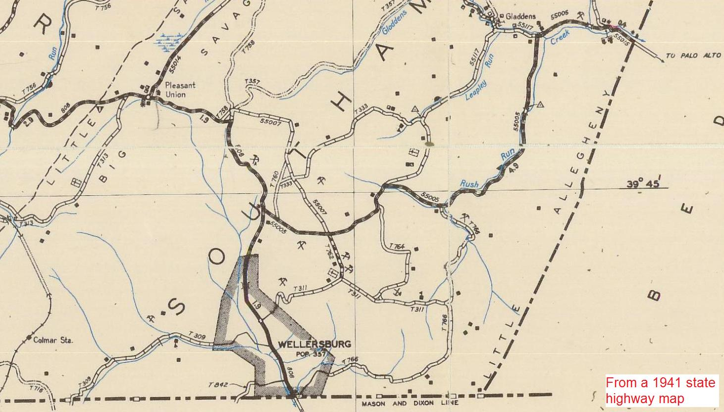 Maps of somerset county pa and nearby allegany county md township portion of state highway map publicscrutiny Images