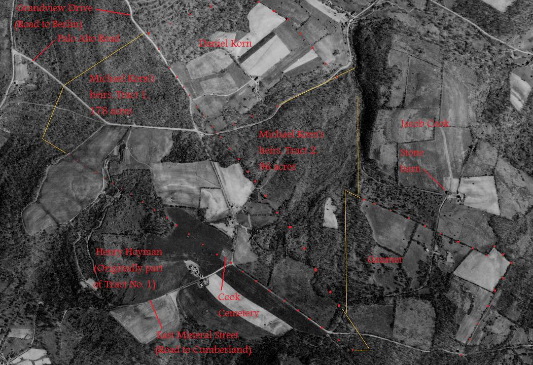 1939 aerial photo, annotated to show 1829 property owners.