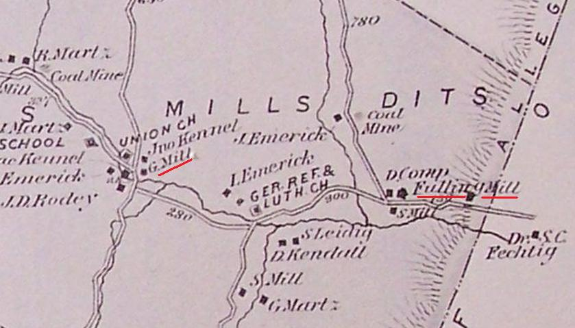 Map showing the mill site at Kennels Mills, PA