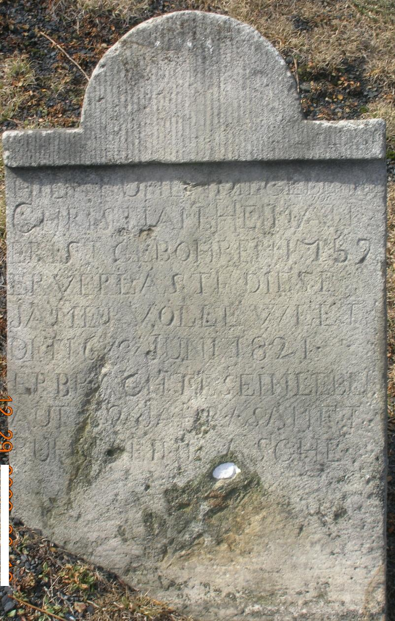 2007 photo of the tombstone of Christian Hoyman/Heilman, Cook Cemetery, Southampton Township, Somerset County, PA