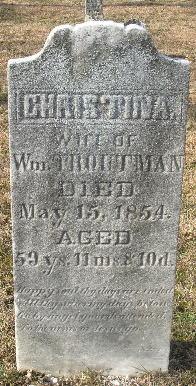 2007 Christina (Korns) Troutman tombstone photo, Lutheran and Reformed Church, Wellersburg, Southampton Township, Somerset County, PA