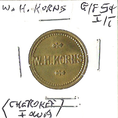Front of Korns trade token