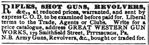 1870 Great Western Gun Works advertisement