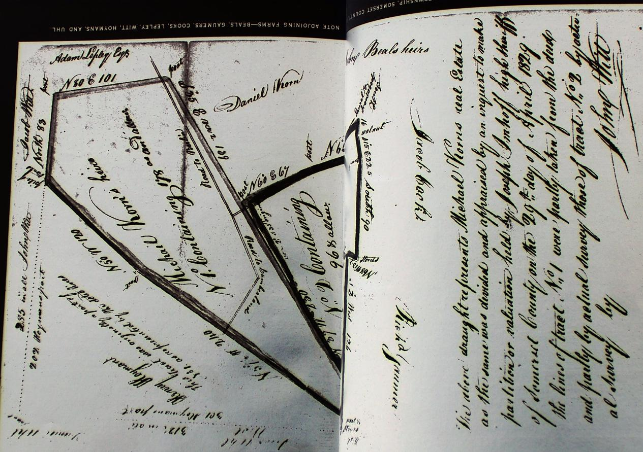 1829 Michael Korns, Sr. Estate map