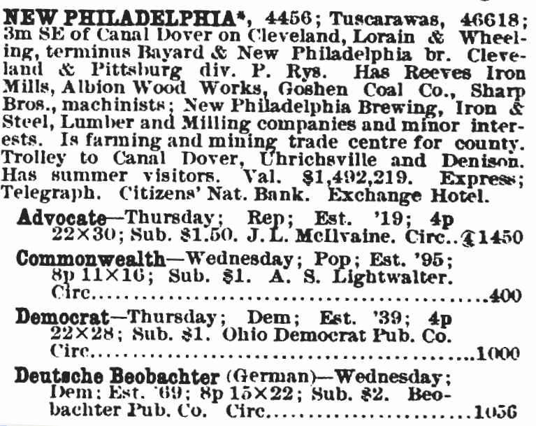 Beginning of New Philadelphia Ohio Newspaper list