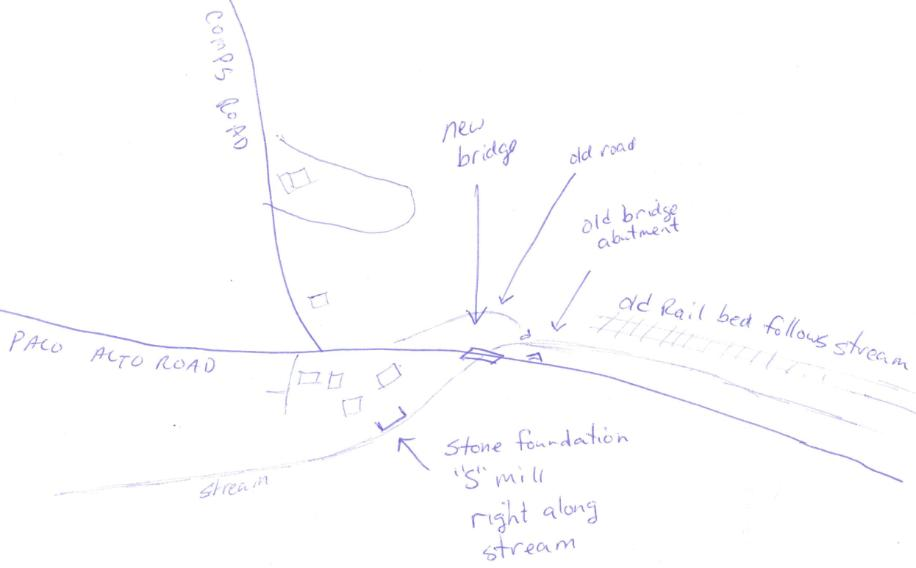 Sketch showing where old stone bridge abutment is located.