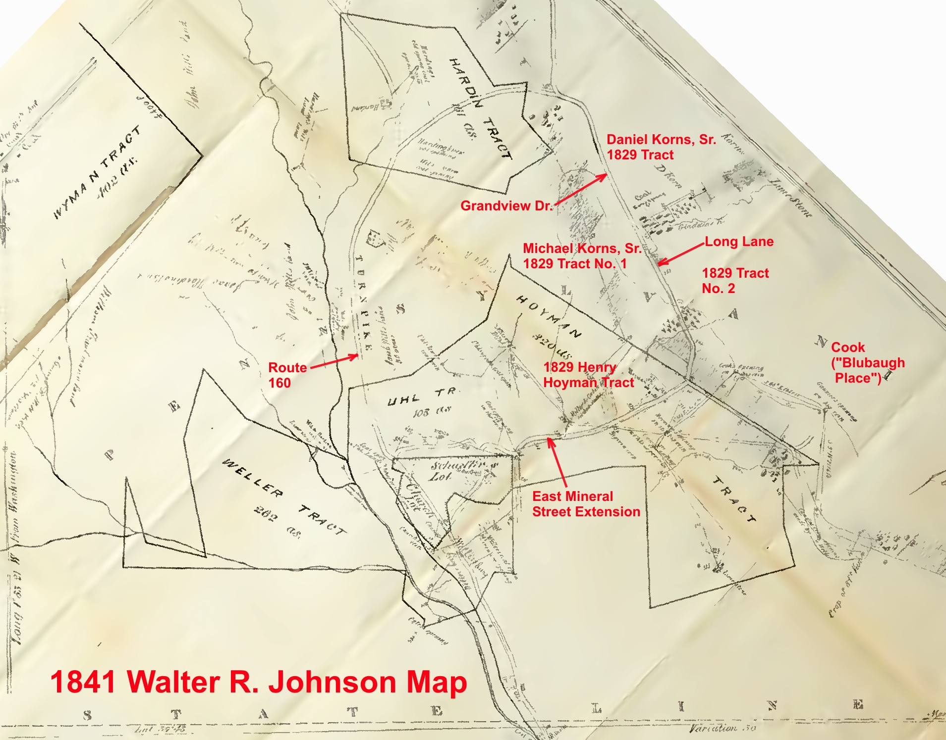 Annotated 1841 Johnson map