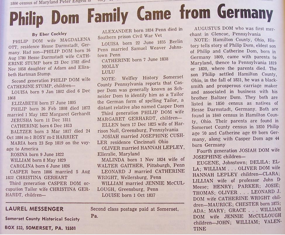 Phillip Dom genealogy