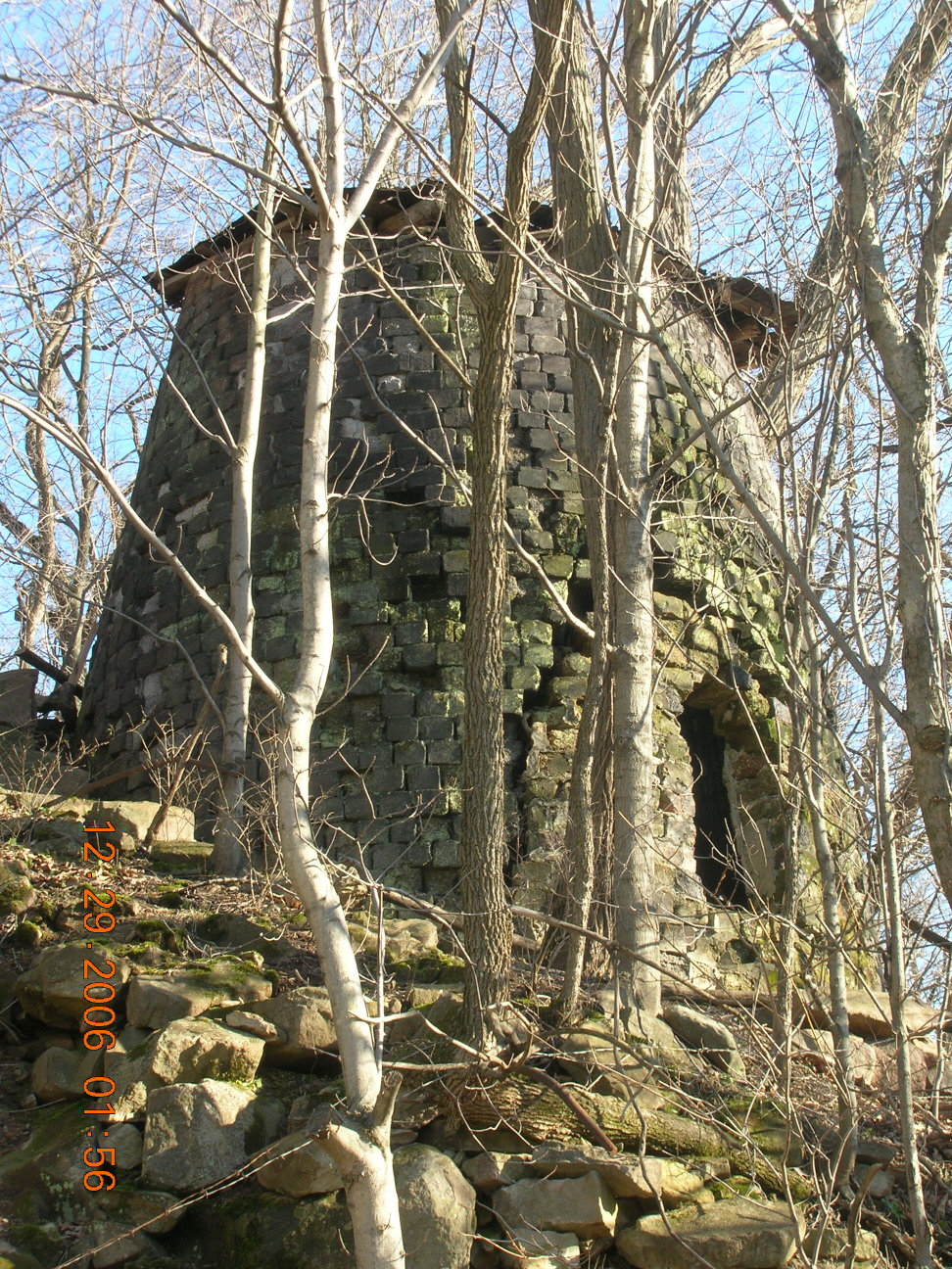 2007 photo of the ruins of the Wellersburg Iron Furnace