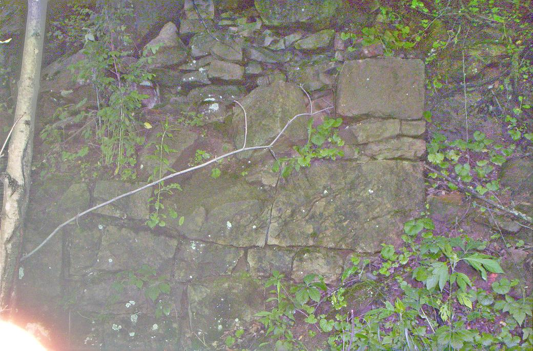 2009 photo of some remaining stonework from the Wellersburg Iron Furnace
