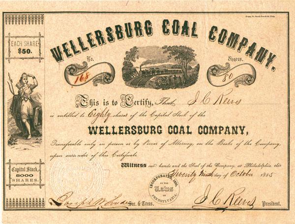Wellersburg Coal Company Stock Certificate