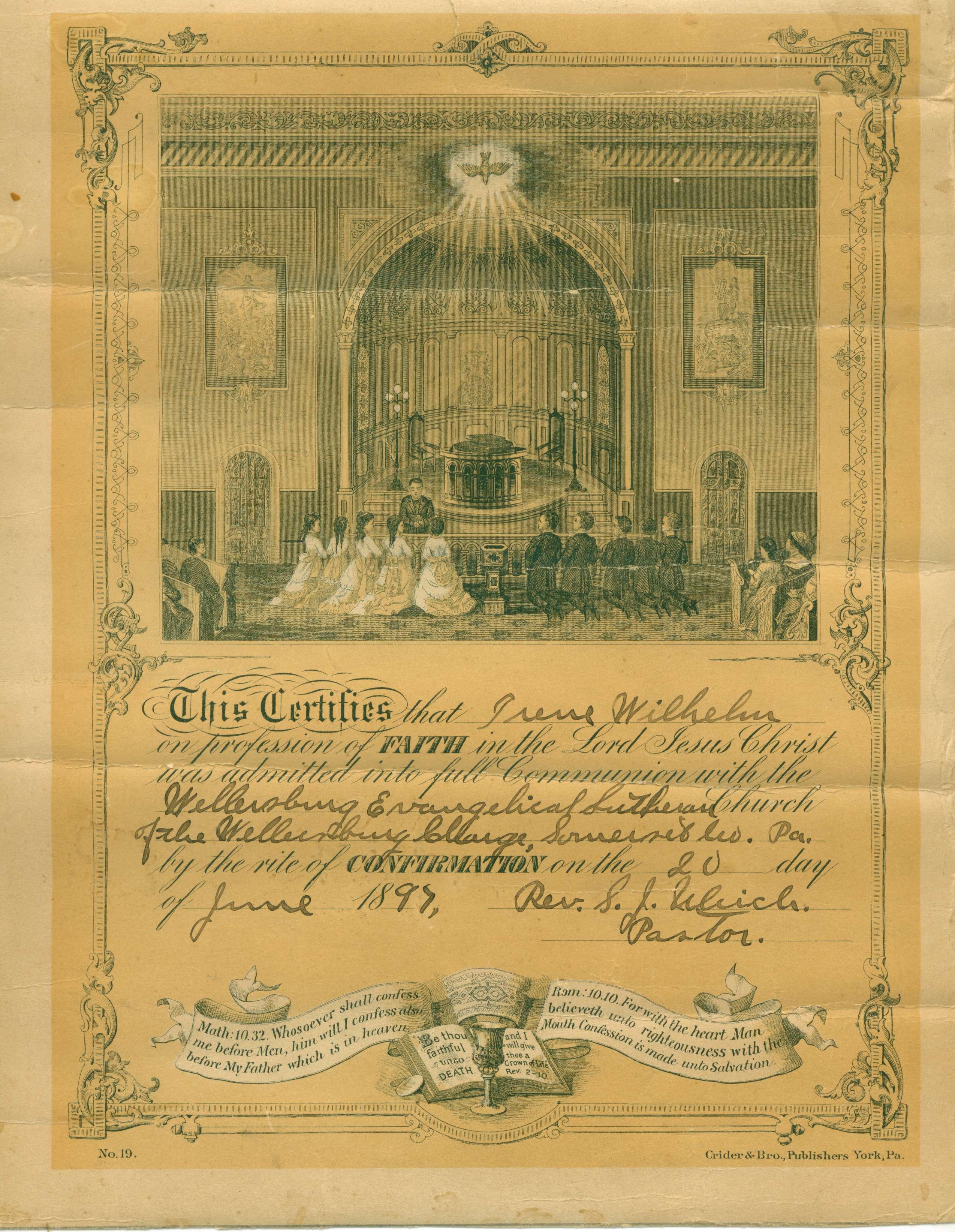 Irene Wilhelm membership certificate, Wellersburg PA