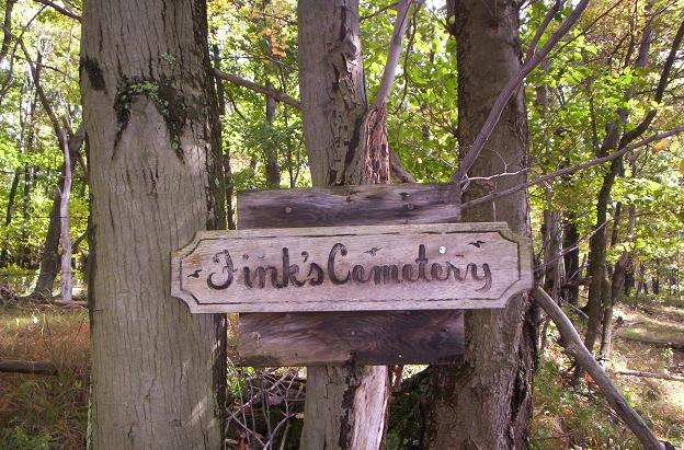 Fink's Cemetery sign, 2009